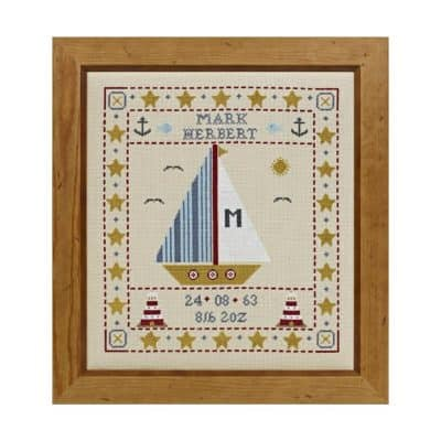 Birth cross stitch sampler
