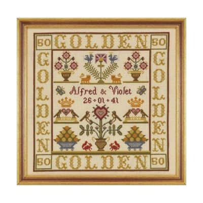 Anniversary cross stitch sampler