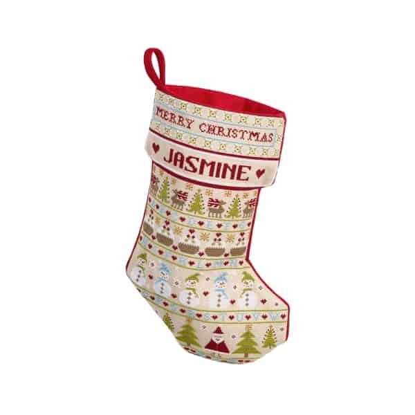 Snowman Christmas Stocking Cross Stitch Historical