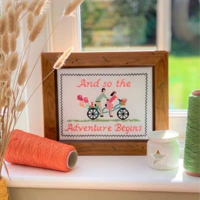 bicycle counted cross stitch kit
